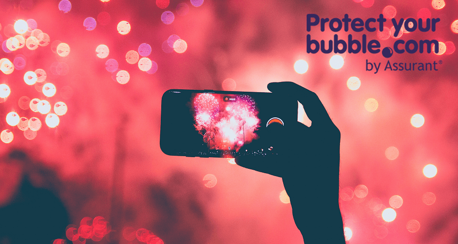 Protect Your Bubble banner with person taking photo of fireworks with iPhone