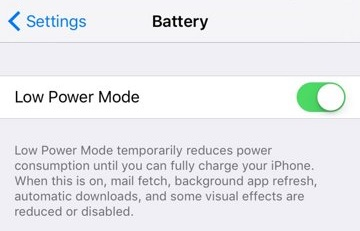 low power mode setting slider on iphone x