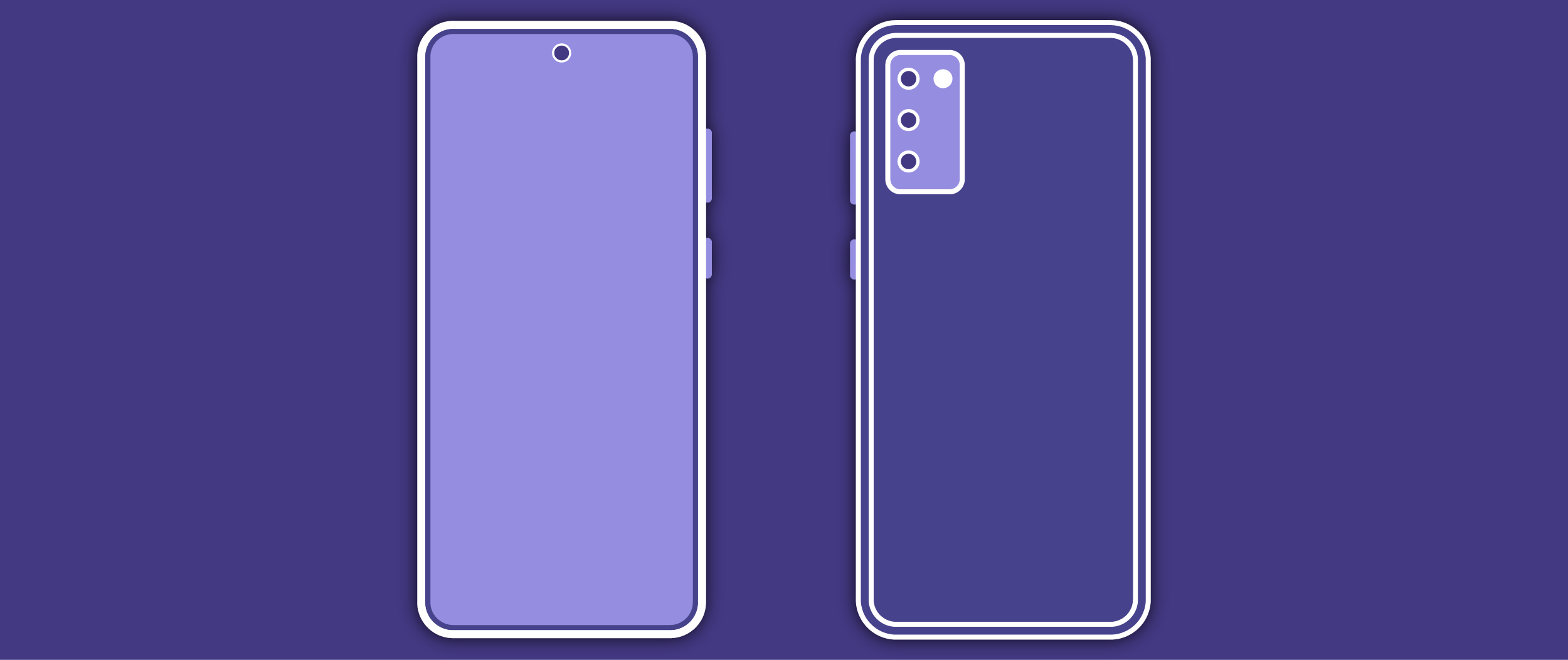 Banner image of a Galaxy S20 on a purple background