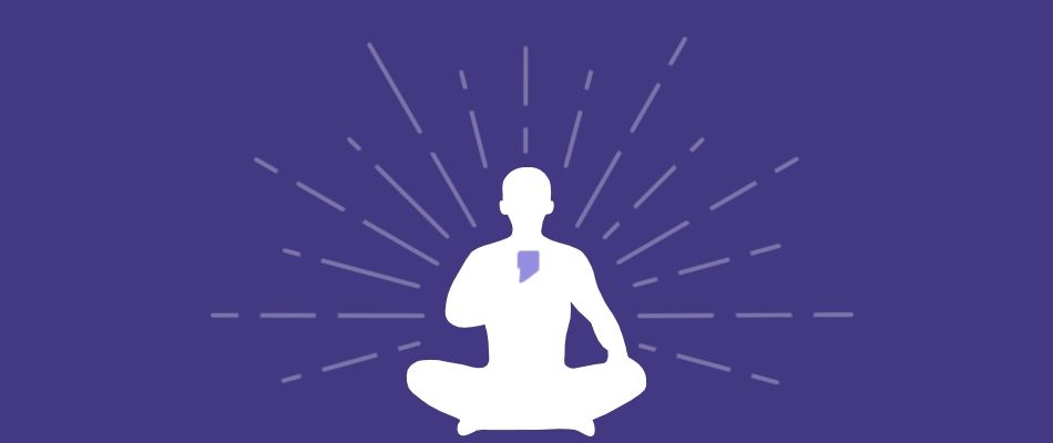 Protect Your Bubble best meditation app banner with person in yoga position on phone